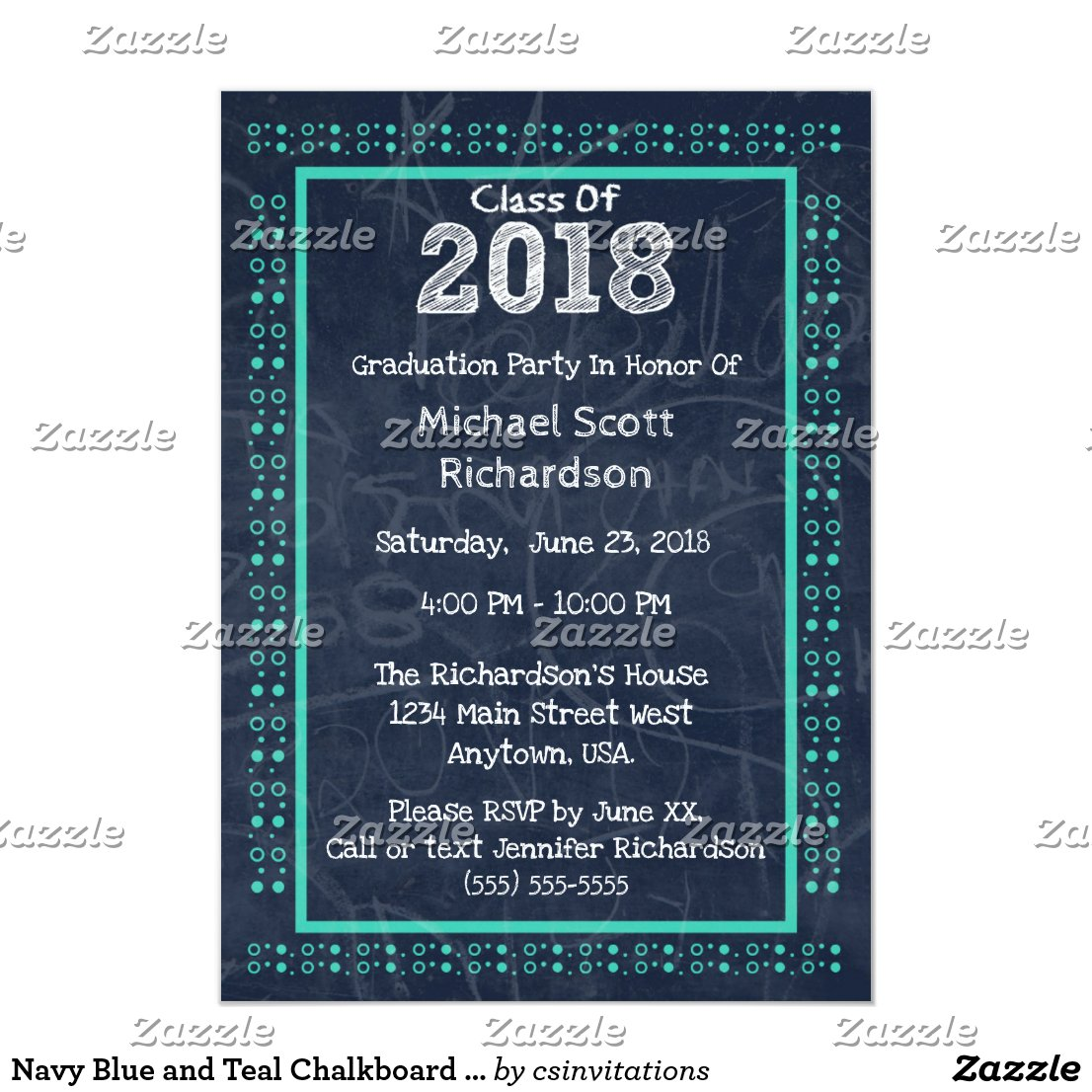 Navy Blue and Teal Chalkboard Graduation Party Card