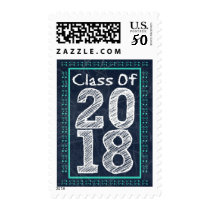 Navy Blue and Teal Chalkboard Graduation Postage