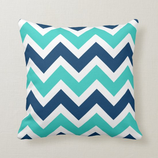 Navy Blue and Teal Chevron Zigzag Pattern Throw Pillow