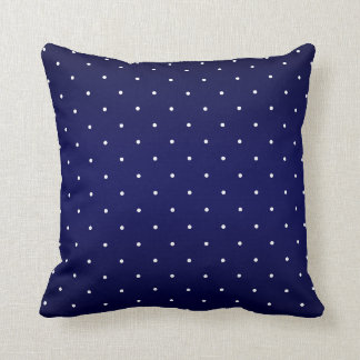 Navy Blue and Tiny White Polka Dots Pillow