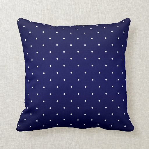 Navy Blue and Tiny White Polka Dots Throw Pillow
