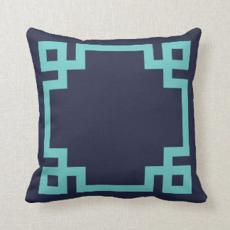 Navy Blue and Turquoise Greek Key Border Throw Pillow