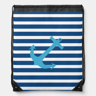 Navy Blue and Turquoise Nautical Anchor Cinch Bag