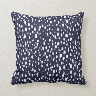 Navy Blue and White Abstract Scattered Dots Throw Pillow