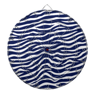 Navy Blue and White Animal Print Zebra Stripes Dartboard