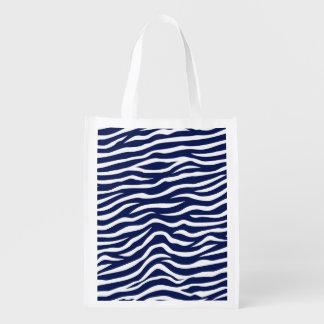 Navy Blue and White Animal Print Zebra Stripes Grocery Bags
