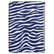 Navy Blue and White Animal Print Zebra Stripes iPad Air Cases