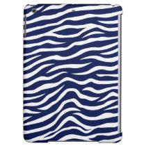 Navy Blue and White Animal Print Zebra Stripes iPad Air Cover