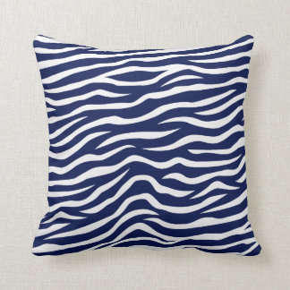 Navy Blue and White Animal Print Zebra Stripes Pillows