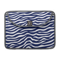 Navy Blue and White Animal Print Zebra Stripes Sleeve For MacBook Pro