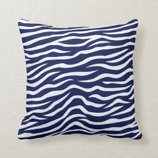 Navy Blue and White Animal Print Zebra Stripes Throw Pillow Zazzle