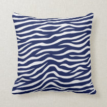 Navy Blue and White Animal Print Zebra Stripes Throw Pillow