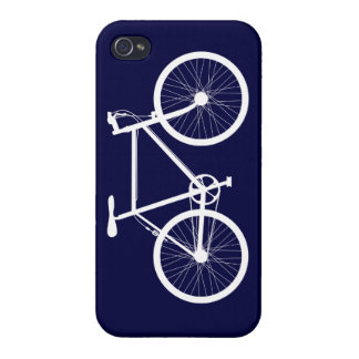 Navy Blue and White Bicycle iPhone 4 Cover