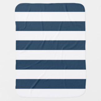 Navy Blue and White Bold Stripes Baby Blanket