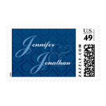 Navy Blue and White Bride Groom Damask Wedding Postage Stamp