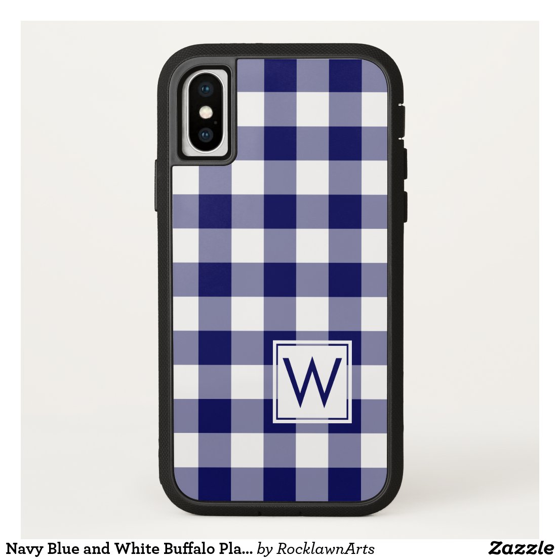 Navy Blue and White Buffalo Plaid with Monogram iPhone X Case