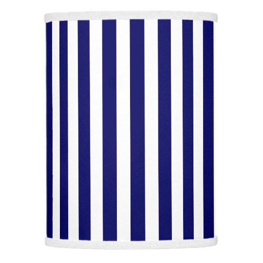Navy Blue And White Candy Stripes Lamp Shade