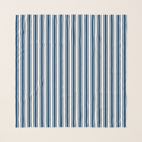 Navy blue and white candy stripes scarf