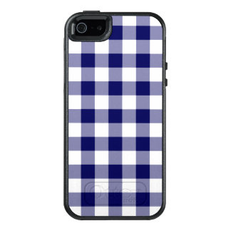 Navy Blue and White Checked Pattern OtterBox iPhone 5/5s/SE Case