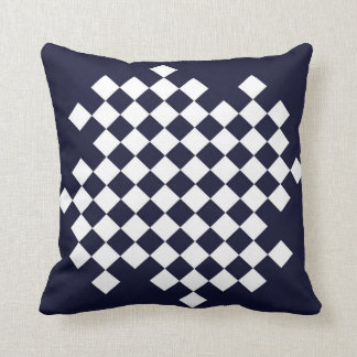 Navy Blue and White Checker Pattern Pillow