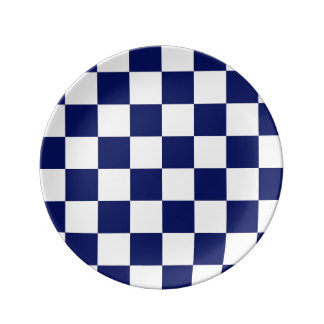 Navy Blue and White Checker Pattern Plate