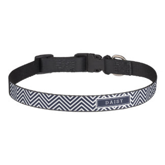 Navy Blue and White Chevron Monogram Pet Collar