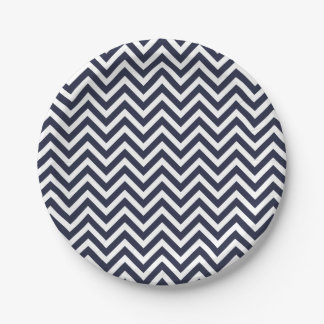 Navy Blue and White Chevron Paper Plate