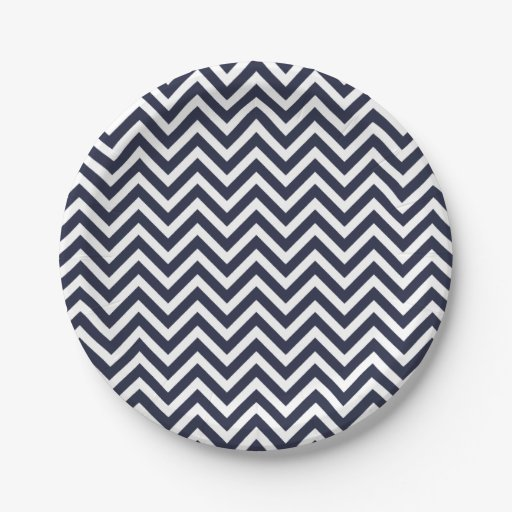 navy blue and white chevron paper plate zazzle. Black Bedroom Furniture Sets. Home Design Ideas