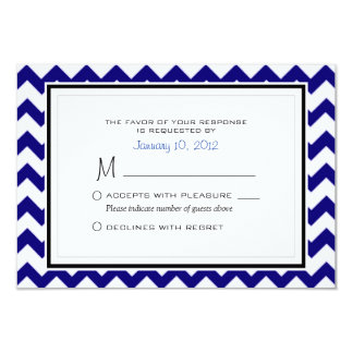 Navy Blue and White Chevron Pattern Wedding RSVP Card