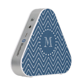 Navy Blue and White Chevron Pattern, Your Monogram Bluetooth Speaker