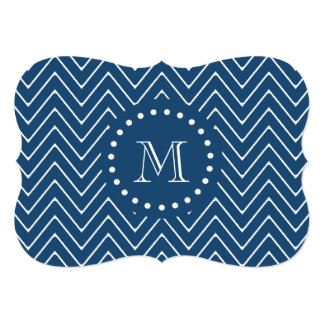 Navy Blue and White Chevron Pattern, Your Monogram Card