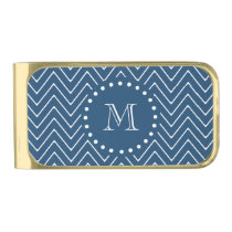 Navy Blue and White Chevron Pattern, Your Monogram Gold Finish Money Clip