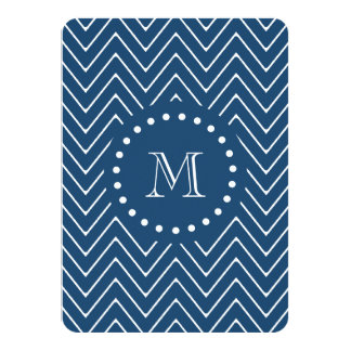 "Navy Blue and White Chevron Pattern, Your Monogram 4.5"" X 6.25"" Invitation Card"
