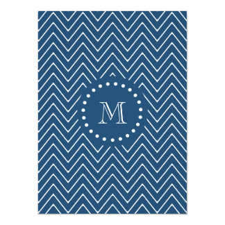 Navy Blue and White Chevron Pattern, Your Monogram 5.5x7.5 Paper Invitation Card