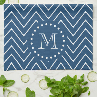 Navy Blue and White Chevron Pattern, Your Monogram Kitchen Towel