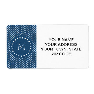 Navy Blue and White Chevron Pattern, Your Monogram Label