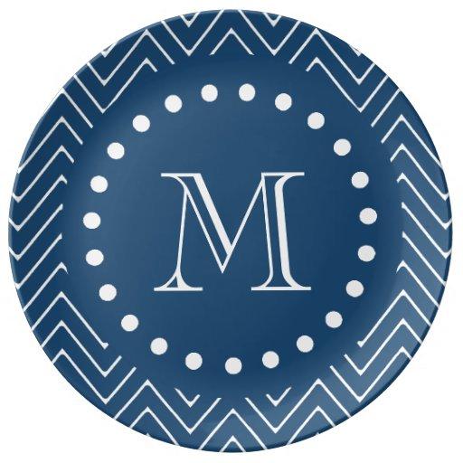 Navy Blue And White Chevron Pattern Your Monogram