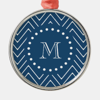 Navy Blue and White Chevron Pattern, Your Monogram Christmas Ornament