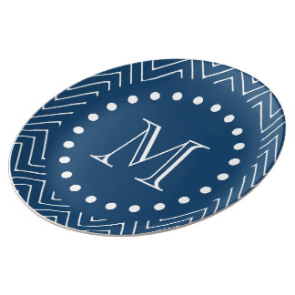 Navy Blue and White Chevron Pattern, Your Monogram Porcelain Plate