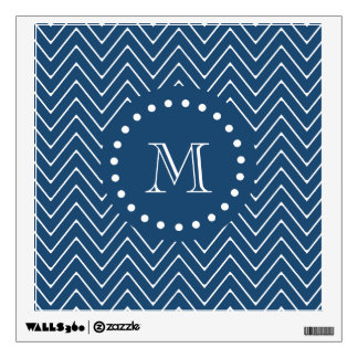 Navy Blue and White Chevron Pattern, Your Monogram Room Graphics