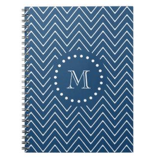 Navy Blue and White Chevron Pattern, Your Monogram Spiral Notebook