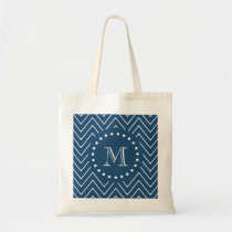 Navy Blue and White Chevron Pattern, Your Monogram Tote Bag