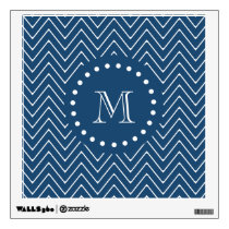 Navy Blue and White Chevron Pattern, Your Monogram Wall Decal