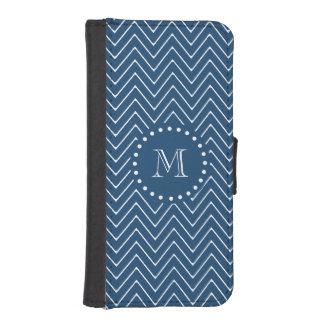 Navy Blue and White Chevron Pattern, Your Monogram Wallet Phone Case For iPhone SE/5/5s