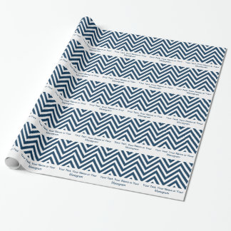 Navy Blue and White Chevron | Personalized Wrapping Paper