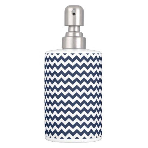 Navy blue and white chevron stripe bathroom set zazzle for Blue and white bathroom set