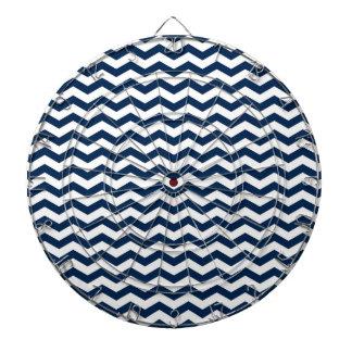 Navy Blue and White Chevron Stripes Pattern Dartboard