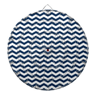 Navy Blue and White Chevron Stripes Pattern Dartboard With Darts