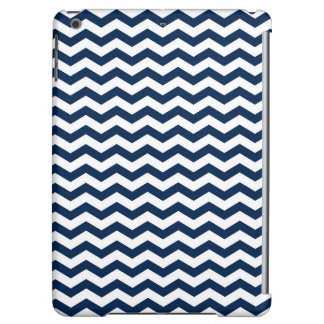 Navy Blue and White Chevron Stripes Pattern iPad Air Cover