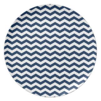 Navy Blue and White Chevron Stripes Pattern Melamine Plate